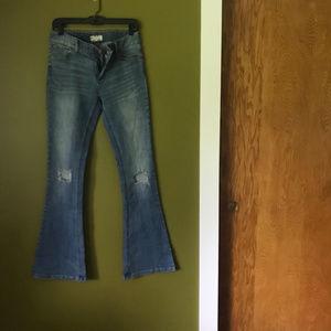 Free People Distressed Knee Hole Flare Jeans